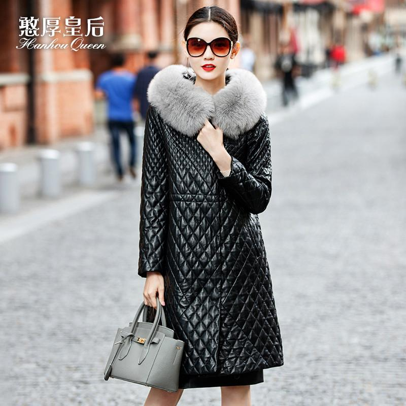 Genuine leather queen clothing female long design 2016 fox fur with a hood cotton-padded sheepskin outerwear a8