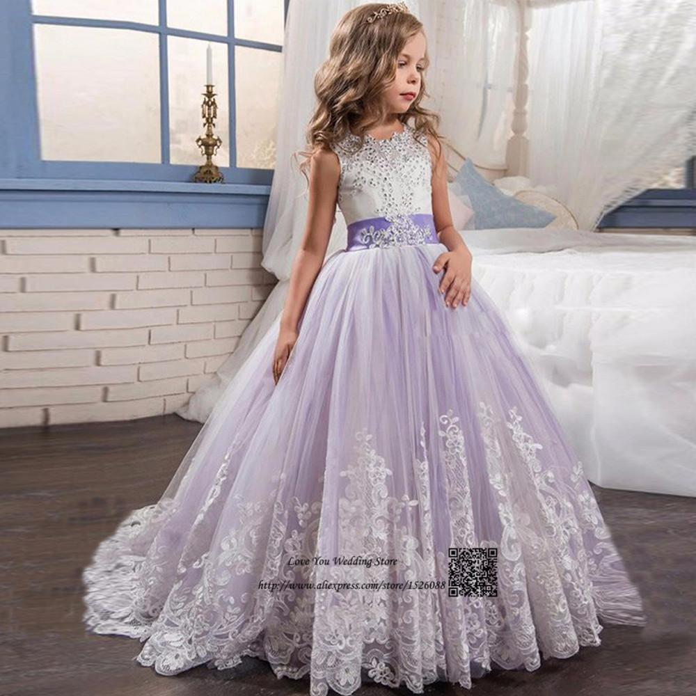 Girls Ball Gown Lace Pageant Dresses for Girls Glitz Holy Communion ...