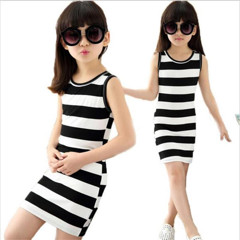 Girls Dress black and white stripes dresse baby girl clothes 100% Cotton  3-14 85fa0964f