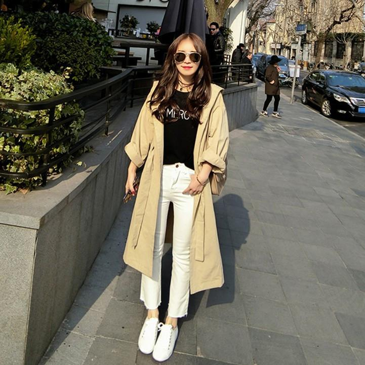 Good quality lady's Trench Autumn Spring New Fashion Casual women's Trench Coat long Outerwear loose clothes for lady