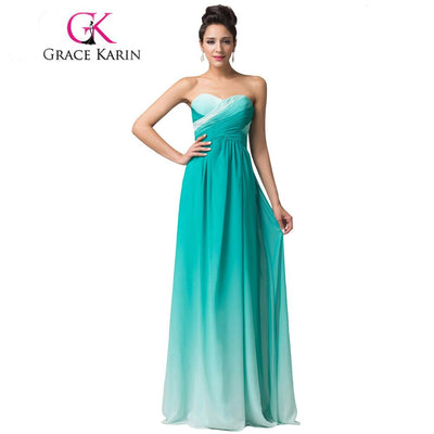 Grace Karin Elegant Long Prom Dresses Green Blue Pink Abendkleider Gradient Style Ruched Formal Dress Chiffon Party Gown 2017