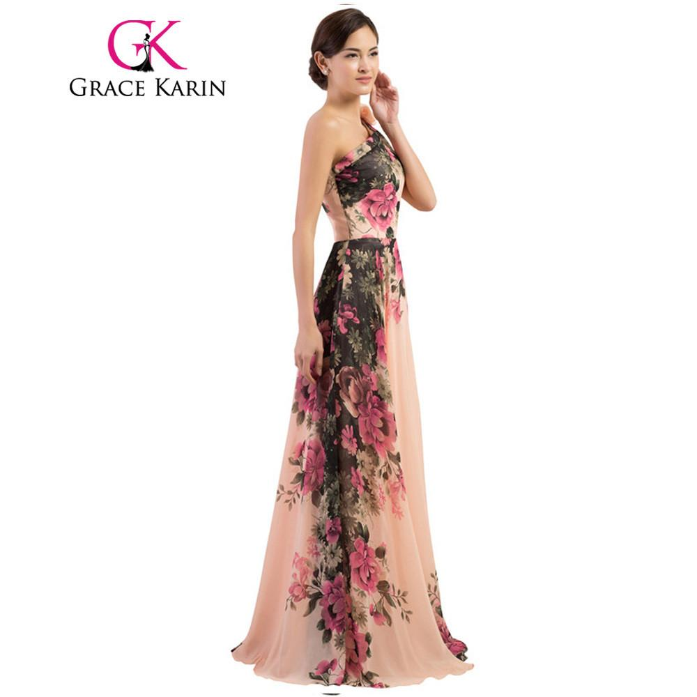 1c7031352f Grace Karin Sexy One Shoulder Long Evening Dress Floral Flower Pattern Long Party  Dress Evening Gowns