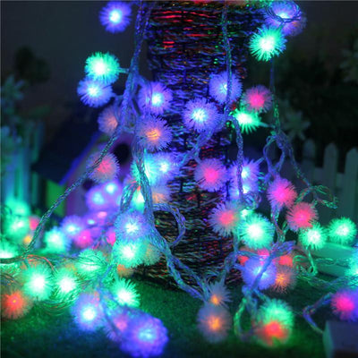 decorative light - 2.5/ 5 M LED Pompon Fairy String Light for Party Wedding Garden Decoration -   jetcube