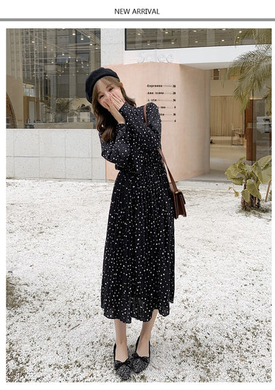 Elegant Polka Dot Women Dress Female Casual Flare Sleeve Office Chiffon Dot Print Dresses A-line Vintage Sweet Clothing Vestidos
