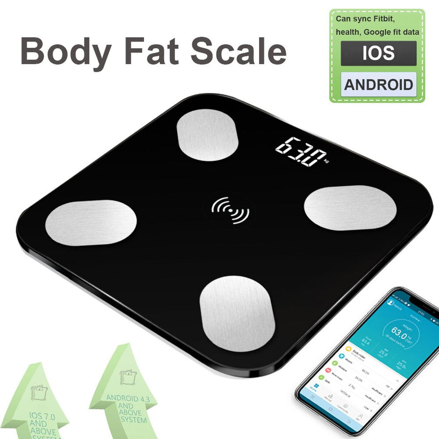 HOT Body Fat Scale Floor Scientific Smart Electronic LED Digital Weight Bathroom Scales Balance Bluetooth APP Android IOS (Black)