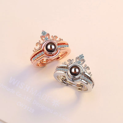 ANENJERY Crown Couple Rings Set Silver Color Projection Rings For Women Gift S-R478