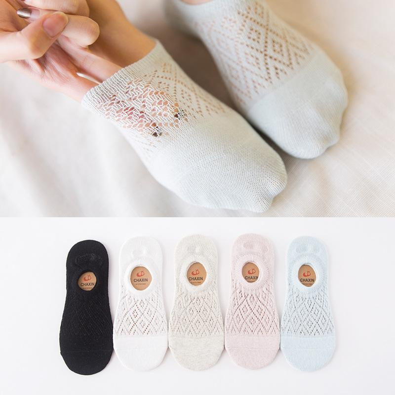 - 10 pieces = 5 pairs 2017 new mesh women socks, cotton socks comfortable shallow mouth socks, nice women slippers socks -   jetcube