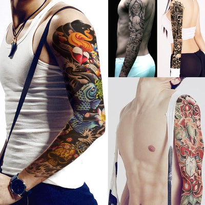 1 Piece Tattoo Sticker Full Flower Arm Fish Peacock Lotus Pattern Temporary Makeup Body Art Water Transfer Tattoo Sticker Dz 112