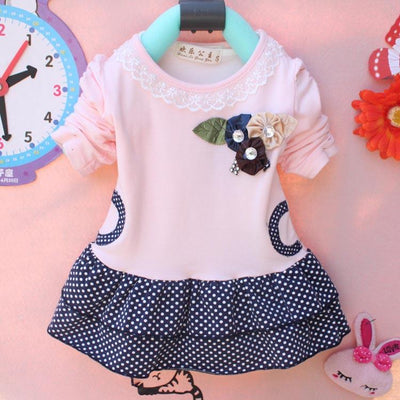 - (1piece /lot) 100% cotton baby princess dress autumn 2016 free shipping - Pink / 12M  jetcube