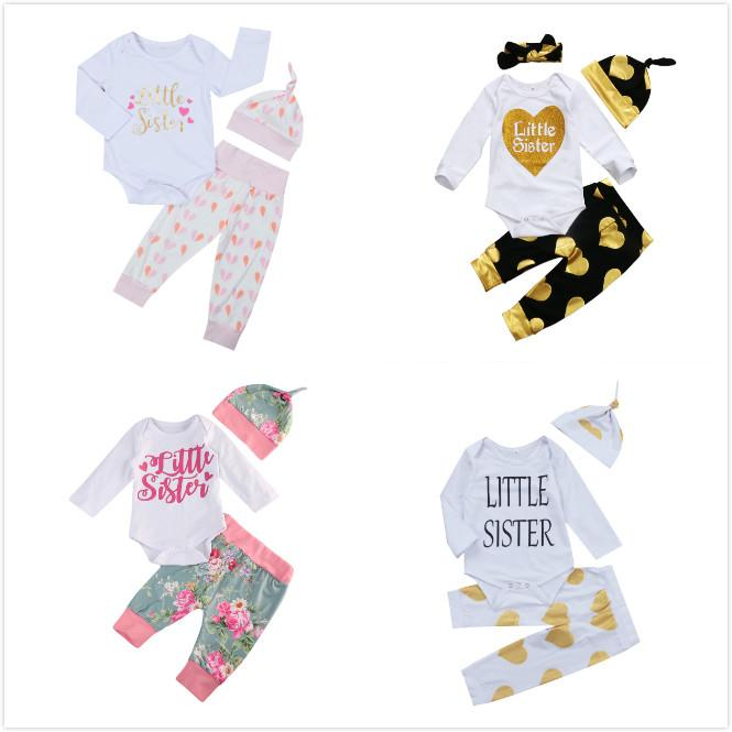 Autumn Winter Newborn Baby Kid Girl Little Sister Long Sleeve Romper + Floral Long Pants Hat 3PCS Outfits Set Clothes