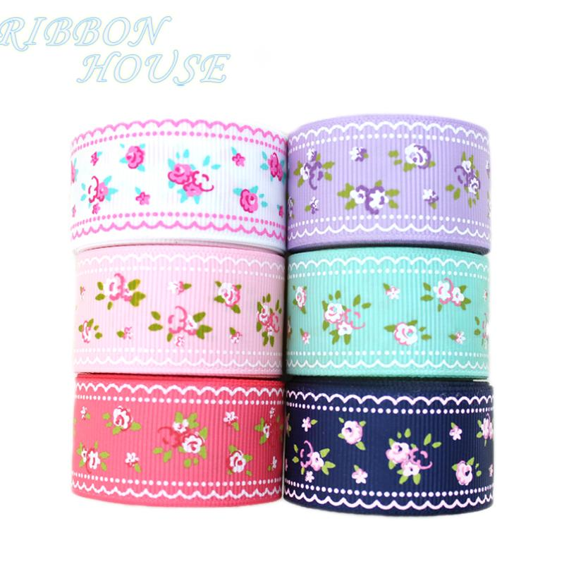 - (6 colors mix) grosgrain ribbon printed lovely floral series ribbons 25mm/40mm -   jetcube