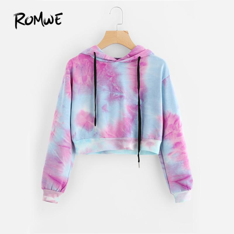ROMWE Water Color Crop Hoodies Multicolor Casual Women Drawstring Hooded Sweatshirt 2017 Autumn Tie Dye Long Sleeve Hoodies