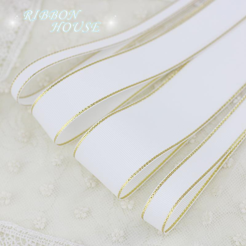 - (10 yards/lot) White Gold Edge Grosgrain Ribbon Wholesale Gift Wrapping Christmas ribbons -   jetcube