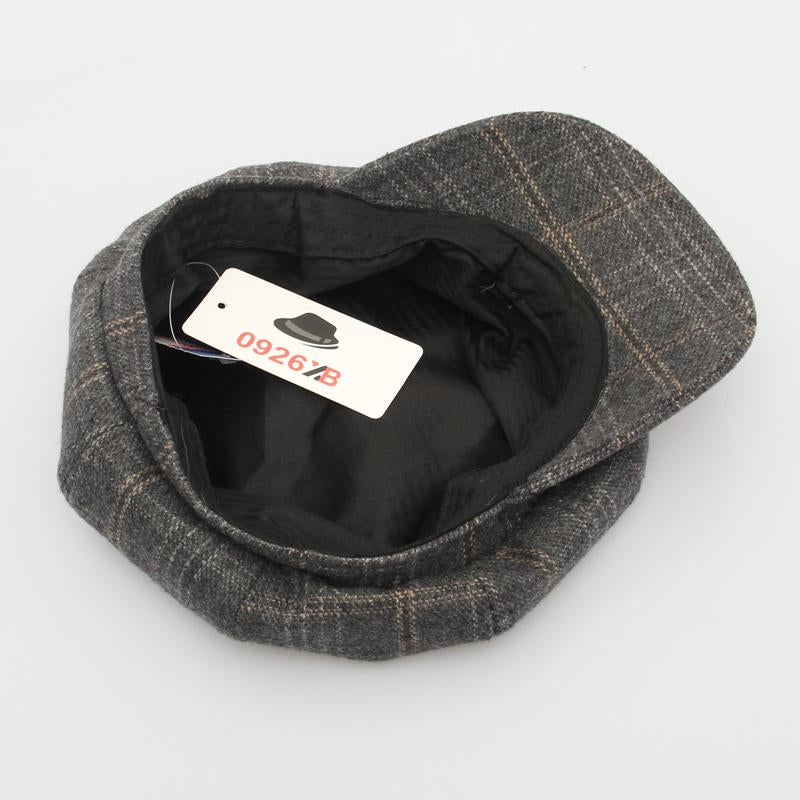 - 0926XB Berets Plaid Tweed Gatsby Newsboy Cap Women Khaki Wool Ivy Hat Golf Driving Flat Cabbie Flat Unisex Berets Hat XB-D603 -   jetcube