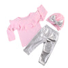 - 0-3T Infant Baby Girl Clothes Sets Long Sleeve Tops Sweatshirt T-Shirts Pants Hat Bow 3pcs Outfits Clothing Set - Pink / 12M  jetcube