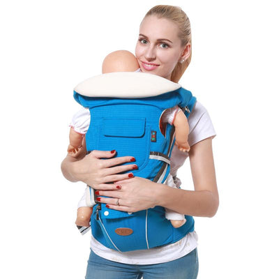 - 0-36 Months Breathable Front Facing Baby Carrier 4 in 1 Infant Comfortable Sling Backpack Pouch Wrap Baby Kangaroo with hipseat - Blue / OneSize  jetcube