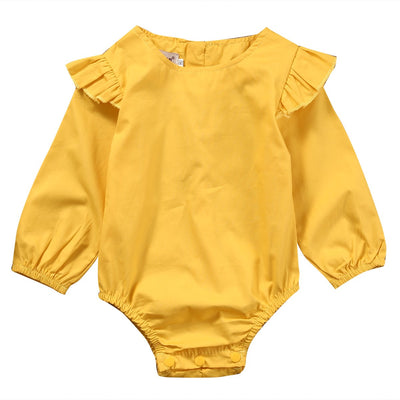 - 0-24M Ruffles Girls Romper Newborn Infant Baby Girlslong sleeve Romper Jumpsuit Sunsuit Outfits Clothes Yellow -   jetcube