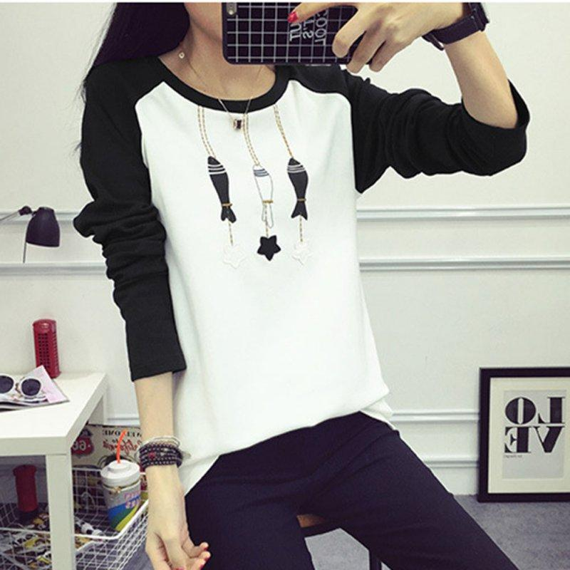 2017 College Wind Women Hoodies Cartoon Cat Sweatshirt Loose Printed Mixed Color Harajuku Hoodie Female Sudaderas Plus Size