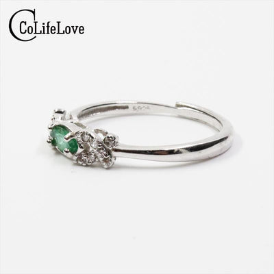 2017 Autumn fashion natural emerald ring 3 mm * 6 mm genuine emerald silver ring sterling silver emerald engagement ring  dailytechstudios- upcube