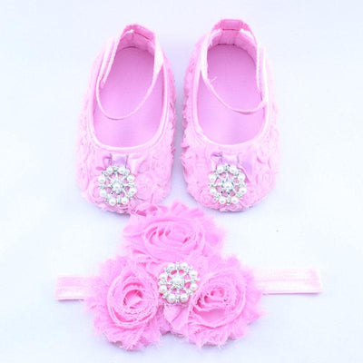 - 0-12 Months Newborn Baby Girl Shoes white baptism Toddler Infant Fabric Booties Flower Headband Set Pearls Lace Princess KU31 - c / 2  jetcube