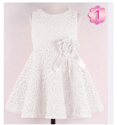 - 0-2 Years New Gift Summer Lace Vest Girls Dress Baby Girl Cotton Dress Chlidren Clothes Kids Party Clothing For Girls - white / 12M  jetcube