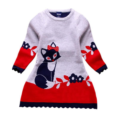 - 2-7Y Character Kid Baby Girl Autumn Winter Double-layer Long-sleeve Fox Clothes Outfit Set - Red / 3T  jetcube