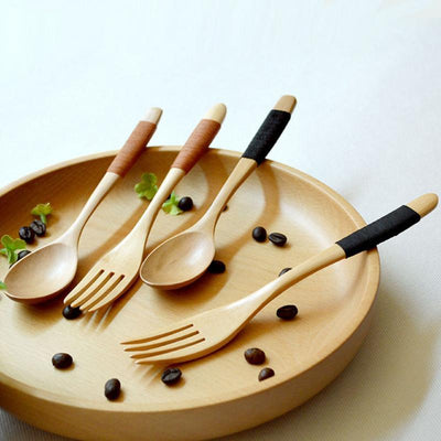1 Set 2 Pieces Natural Eco Friendly Wooden Log Coffee Fork Set, Kitchen  Supplies
