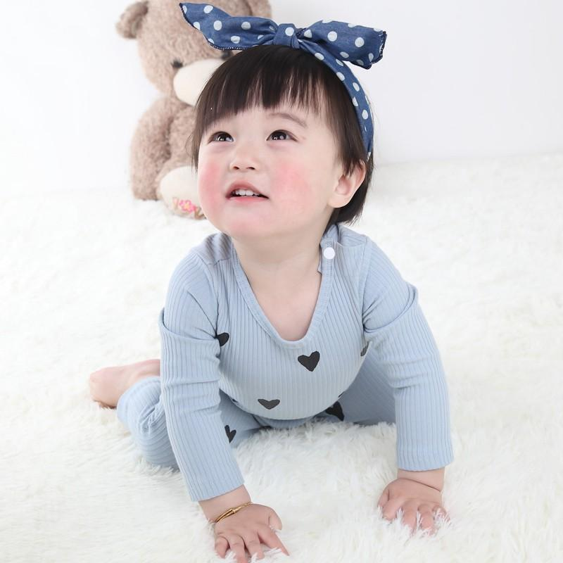 - 0-24 Months High Quality New Born Baby Girls Boy Romper Clothes Cute Heart Cotton Girls Long Sleeve Jumpsuit Pink Blue -   jetcube