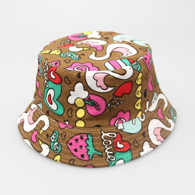 - 2-6T Baby Cartoon Print Bucket Sun Hat Floral Children Summer Panama Caps Baby Girls Fisherman Straw Hat Kids Boys Topee cap - 4  jetcube