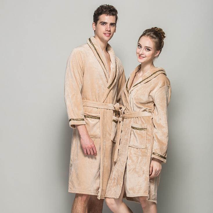 449f28261f (1PCS Lot) Bathrobe men robes Fleece women s Size M L XL Microfiber bathrobe
