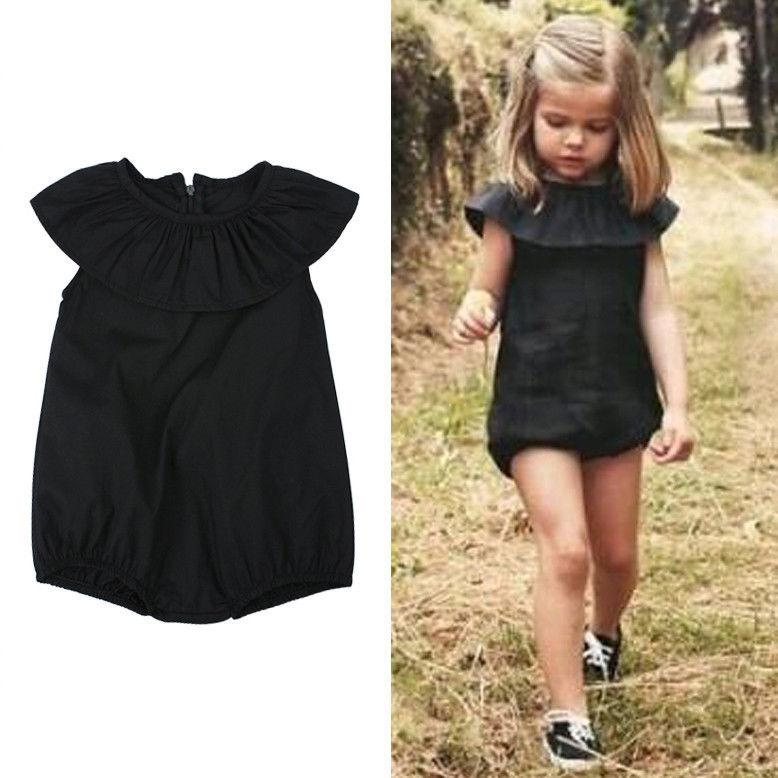 - 0-4Years Kids ruffle-neck Romper Baby Girls black Romper Jumpsuit Playsuit Summer Clothes Outfit Sunsuit -   jetcube
