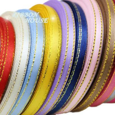 - (25 yards/roll) 1/4'' (6mm) Gold edge ribbon satin ribbons high quality gift packaging ribbons -   jetcube