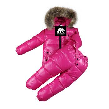 - -30 degree Russia Winter children's clothing girls clothes sets for new year's Eve boys parka jackets coat down snow wear - rose / 2T  jetcube