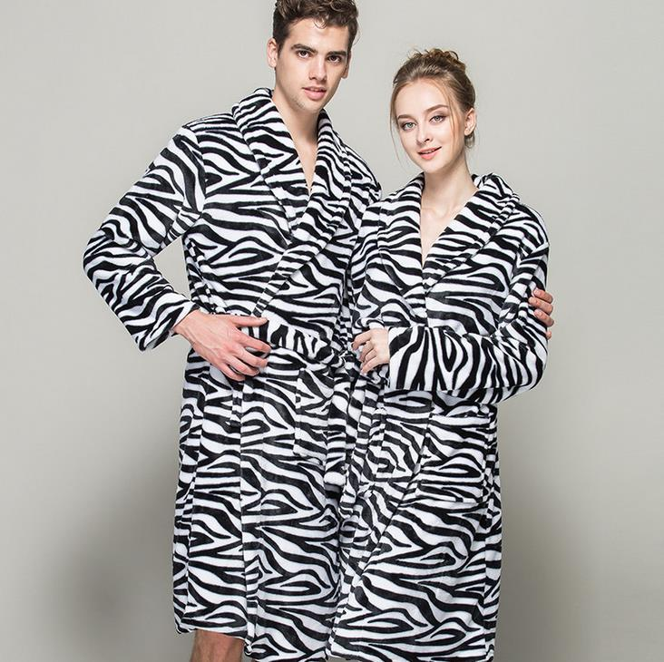 d8b76d485e (1PCS Lot) Leopard Bathrobe men robes Fleece women s Size M L XL Microfiber