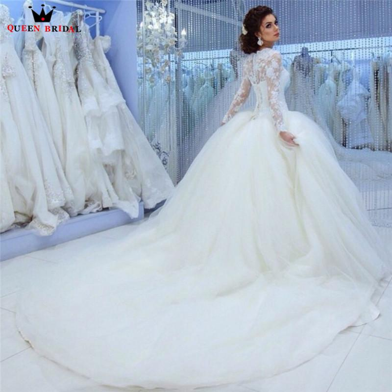 Ball Gown Fluffy Long Sleeve Lace Beading Romantic Formal Wedding ...