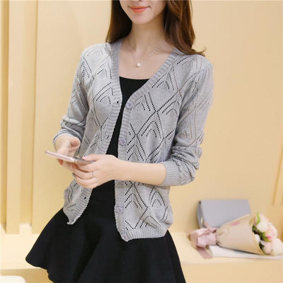- 18 new women's Korean long sleeved knit cardigan collar hollow V simple air conditioning shirt female coat F1844 - long  gray / One Size  jetcube