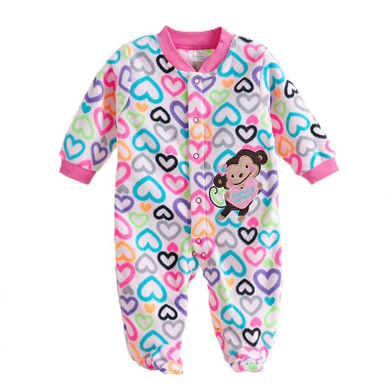 - 0-12M Autumn Fleece Baby Rompers Cute Pink Baby Girl Boy Clothing Infant Baby Girl Clothes Jumpsuits Footed Coverall V20C - MKBCROGL001P45 / 12M  jetcube