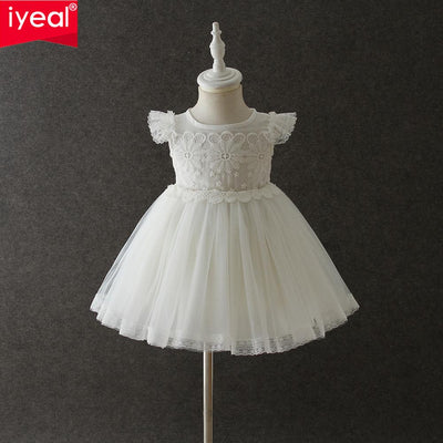 Iyeal Fashion Formal Newborn Wedding Dresses Baby Girl Lace Pattern