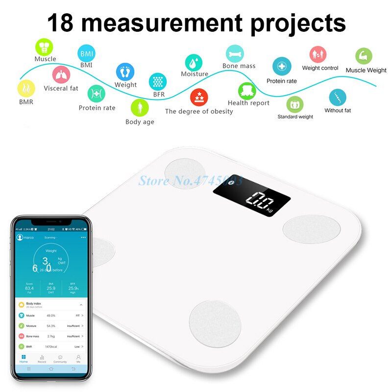 2019 Smart Weight Scale Scientific Weights Pesas Body Fat Scale Bathroom Digital Balance Connect Weighing Scales Bluetooth APP (White)