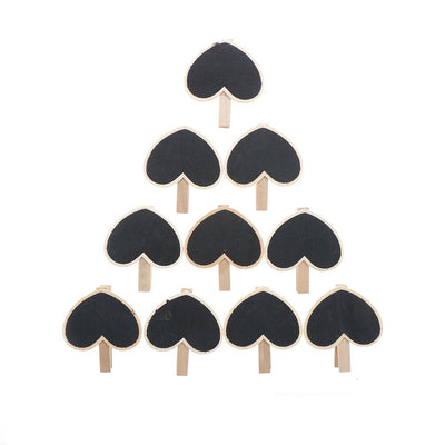 - 10 Pcs/lot 6.8*5.5*0.2cm Mini Cute heart Kawaii Wooden Blackboard Chalkboards Clips Holder For Paper Decoration Photo -   jetcube
