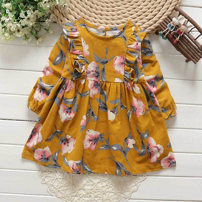 - 2-6y Autumn Girls Clothing 2017 Fall Girl Dress Ruffles Floral Children Dress Cotton Long Sleeve Kids Dresses Cute Girl Clothes - Yellow / 2T  jetcube