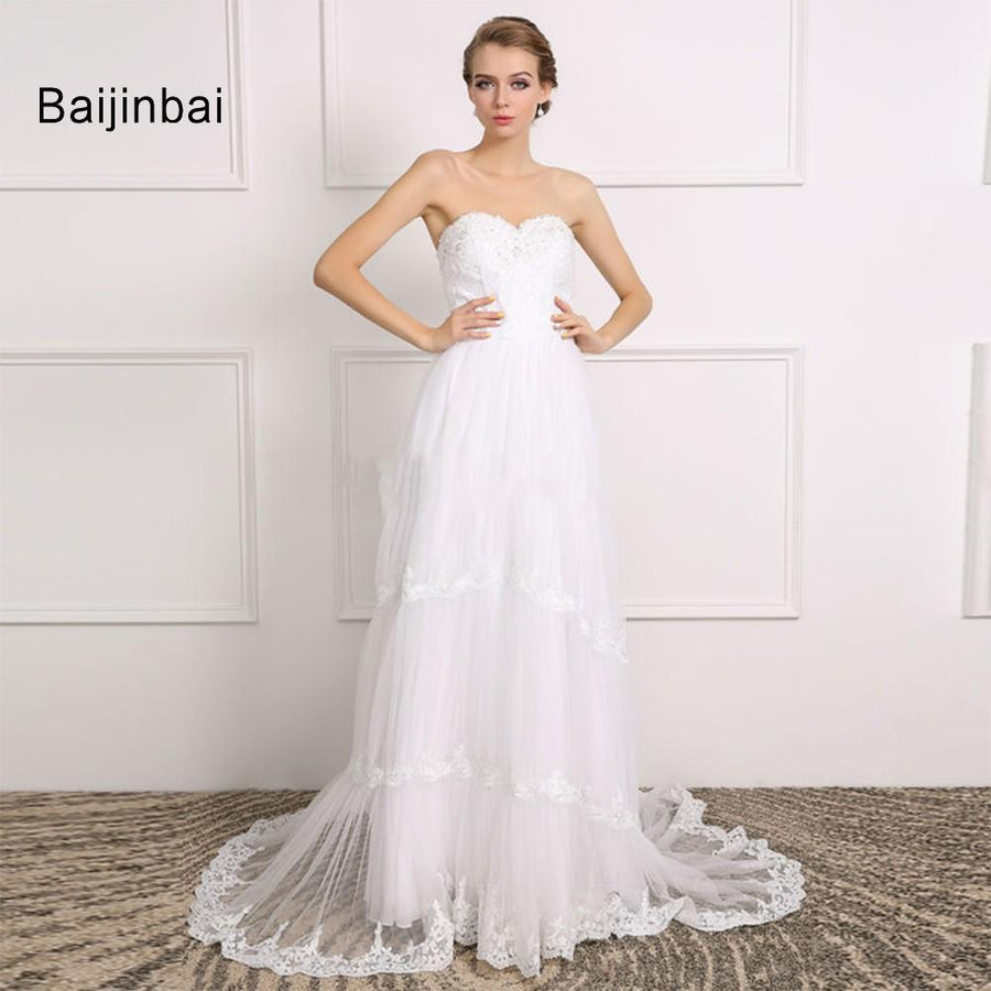 10040fbaaf Baijinbai Vestido De Noiva New Real 2018 Zipper Back A Line Long White  Wedding Dresses Court