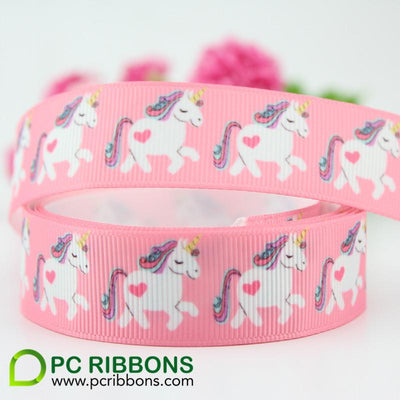 - 10 sizes width heat transfer printed grosgrain ribbon cute unicorn cartoon printed ribbon wedding accessories 25 yards -   jetcube