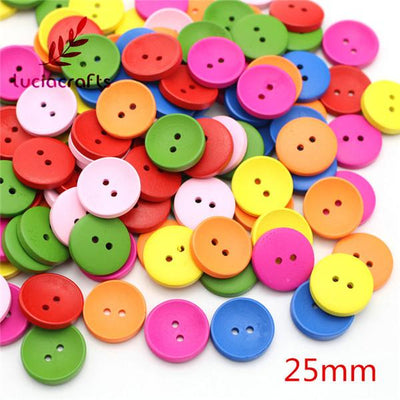 - 2-Holes Cartoon Wood Button Mixed Color Wooden Buttons Clothing Accessories 13011038 -   jetcube