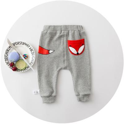 - 0-2 years 2017 Baby Pants Solid Color Cotton Children Pants Autumn Winter Fox Print Children pants - b  jetcube