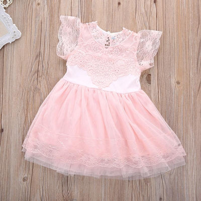 - 2016 Girls Princess Wedding Party Dress Elegant Lace Floral Tulle Dresses Baby Girl Dress High Quality -   jetcube