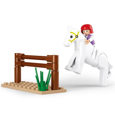 - 0517 SLUBAN Girl Friends Horse Racing Model Building Blocks Classic Enlighten DIY Figure Toys For Children Compatible Legoe - B0517  jetcube