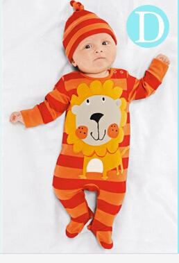 - (animal baby boy clothes) baby clothes romper cow/ panda/lion/ tiger long-sleeved romper with cute hat - d / 12M  jetcube