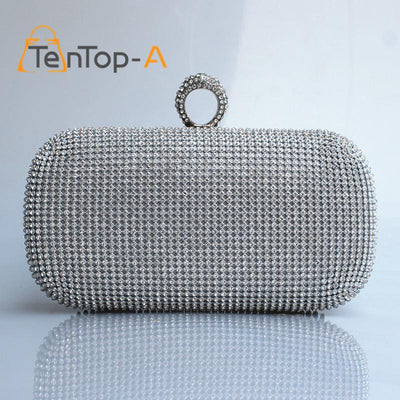 - (Put iphone6PS ) Both Side Diamond Ring Clutch Bags Smart Multifunction Women Full Rhinestone Evening Bag Clutch Purse/Bling Bag -   jetcube