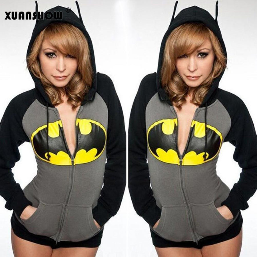 2017 Autumn Winter Women Corp Tops Sexy Zipper Batman Printed Women's Hoodies Kawaii Hoody Ears Zip-up Female Jacket Coat Casual  dailytechstudios- upcube